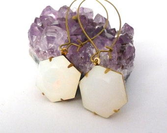 Vintage Hexagon Earrings, Large Milky Moonstone Glass Jewels, Dangle Style, Geometric Minimalist