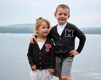 Personalized Toddler Letter Jacket, Back to School Monogrammed Cardigan Sweater 2T, 4T & 6