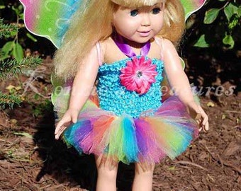 """4-Piece Pastel Rainbow Butterfly Outfit for 18"""" and 15"""" Dolls - Fits American Girl Dolls and My Generation Dolls"""