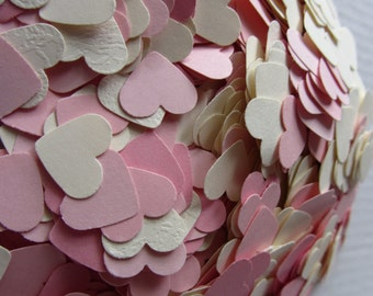 Paper hearts, die cut hearts, die cuts, paper heart punches, wedding confetti, scrapbooking, weddings, pink ivory