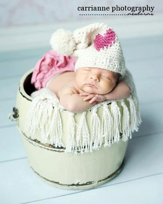 Crochet Pattern Sweet Heart Hat (Sizes 0-3 years)