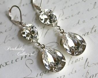 Bridal Crystal Earrings, Swarovski Crystal, Tear Drop, Pear Shaped