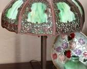 RESERVED for Thomas Thompson ~ Handel Overlay Slag Glass Lamp - Rambling Roses Teroca Painted Shade
