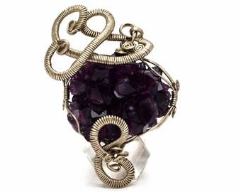Amethyst Druzy Pendant, Silver Pendant,  Wire Wrap Pendant, Druzy Amethyst, Gemstone Pendant, Raw Pendant, Purple Pendant, Silver Pendant