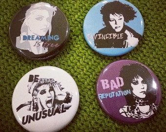 pinback buttons badges 4 pack Pat Benatar Cyndi Lauper Joan Jett Debbie Harry Blondie