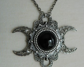 NYX -- Triple Moon Goddess Necklace by Crow Haven Road