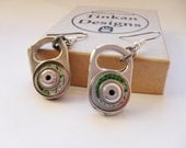 Eco Friendly Dangle Earrings, Silver and Green, Recycled Beer Can, Aluminium, Hypo Allergenic