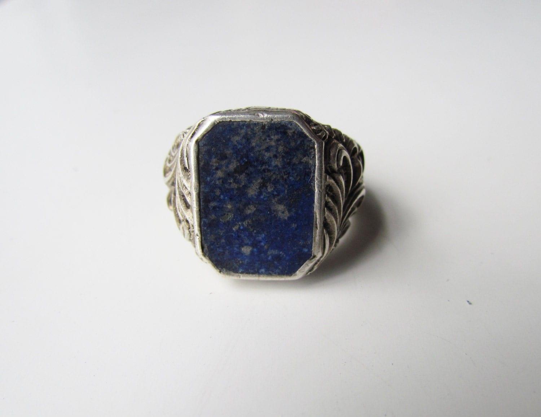 antique deco mens ring silver with lapis lazuli c 1920