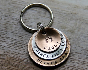 Custom Keychain for Daddy - A Girl's First Love - in Hand Stamped Layered Bronze & Brushed Nickel