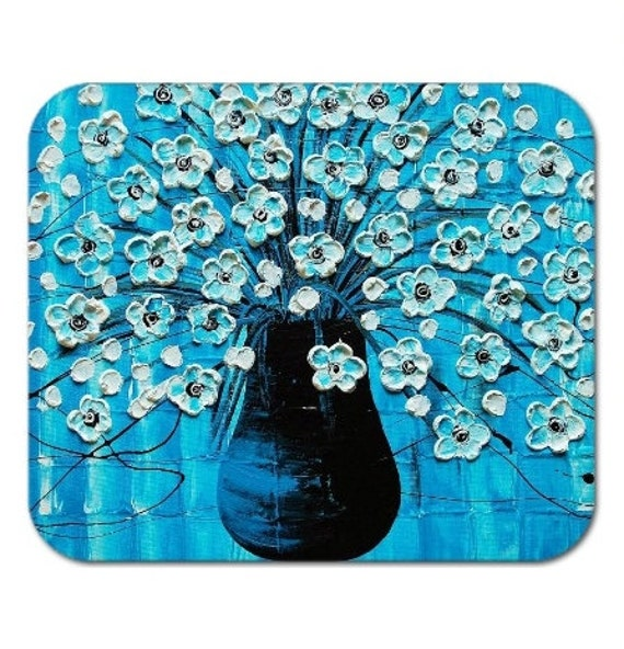 Mousepad Gel Mouse Pad Fine Art Painting Ocean Blossoms Blue Aqua Turquoise Flowers in a Vase