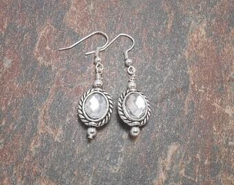 Silver Plated Glass Rhinestone Earrings - Clearance