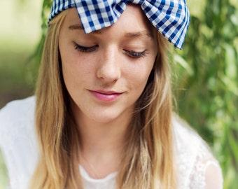 Navy Gingham Bow Headband, Dolly Bow, Bow Headband, Rockabilly Pin Up Girl Headband, Oversized Bow Headband, Cute Gingham Headband