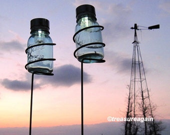 Mason Jar Garden Stakes 2 Holders with Mason Jar Solar Lights, Mason Jar Lanterns, Outdoor Lighting Outdoor Garden Decor