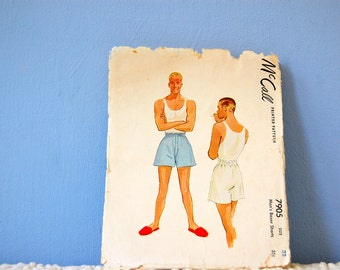Men's Boxer Shorts Pattern 1940s Men's Sewing Pattern Vintage Men's Underwear 1949 McCall's 7905 Size 32 40s Undergarments