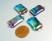 Dichroic Fused Glass, Dichroic Connector, Fused Glass Pendants, Dichro Destash, Pink, Blue, Silver Dichroic, Rainbow, Psychedelic