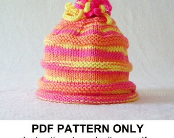 Knitting Pattern - Baby Hat Pattern - the SOPHIA Hat (Newborn, Baby, Toddler, Child & Adult sizes incl'd)