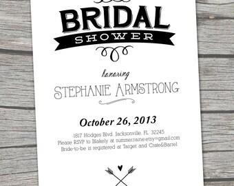 NEW - Vintage Black and White Bridal Shower Invitation - Digital Printable