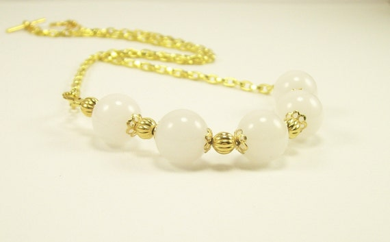 Gemstone Necklace Handmade~ White & Gold Snow Quartz Casual Necklace~ Gemstone Jewelry~ Beaded Jewelry~ Women's Jewelry