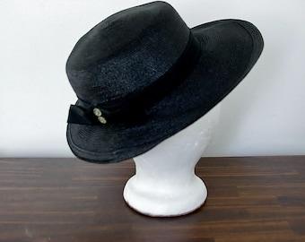 Vintage 60s Hat, 1960s Black Hat, Wide Brim Hat, Straw Hat, Sun Hat, Black Hat, Woven Hat, Ladies Hat, Summer Hat, Brimmed Hat
