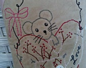 Valentine Heart Mouse Hand Stitched Pillow Tuck