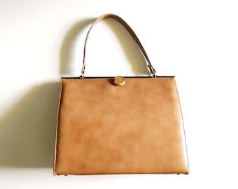 Vintage Tan Butterscotch Frame Purse Handbag