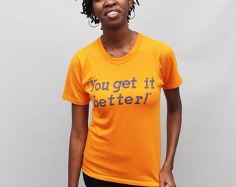 "80s vintage ""The Wherehouse"" t-shirt, ""You Get It Better"" super soft poly cotton golden orange / yellow t-shirt - Small"