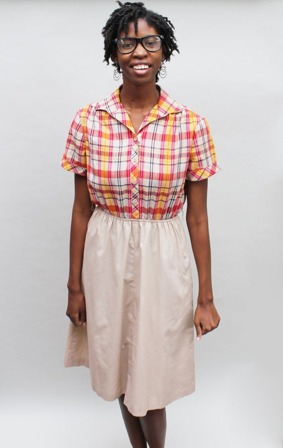 80s vintage plaid and beige shirt dress, short sleeves, midi, pockets, preppy, cute, medium