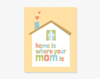 Mother's Day Gift Idea, Home Is Where Your Mom Is, Meaningful Quote Wall Art for Her