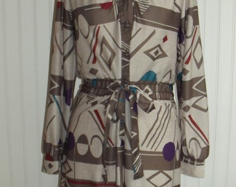 1970s Long Sleeved Dress by Murray Meisner USA, Geometric Print, Size Large, #41394