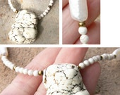 Exquisite White Turquoise Necklace. Long BIWA Pearl. Chunky White Turquoise Stone Pendant. Gold seed Beads.
