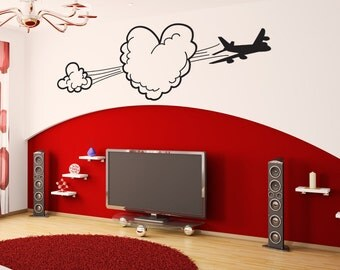 Vinyl Wall Art Decal Sticker Heart Shaped Cloud with Airplane OSDC799B