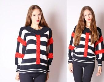 Simon Chang Designer Vintage Nautical Knot Cotton Linen Striped Sailor Sweater / Nautical Vintage / Red White Black Sweater / Avant Garde /