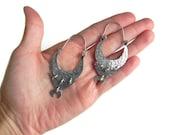 tribal hoop earrings, modern metal hoops, eclectic hoop earrings, hammered metal hoops