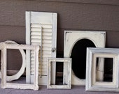 Shabby Chic Creamy Ivory/Old White Wall Decor Set - Chalkboard - Shutter - Wall Sconce - Upcycled - Vintage - Frame Set - Cottage Chic