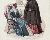 1842 Antique FASHION  print, Jane Eyre era, french woman fashion for autumn, original antique engraving.