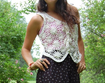 Vintage Flower Crochet Hippie Festival Vest Medium Cream Color