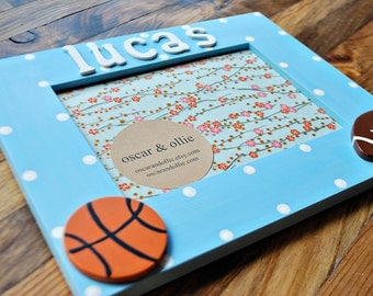 Sports picture frame Kids picture frame Personalized frame Basketball picture frame Football frame