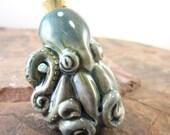 Peruvian Ceramic Raku Octopus Bottle