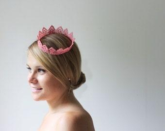 "Light Pink Princess Lace Crown ""Petite Princess Crown"" -  queen, halloween costume, fairy tale"