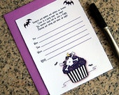tim burton inspired striped skull cupcake night bats lined birthday party or baby shower invitations with envelopes DIY - set of 10