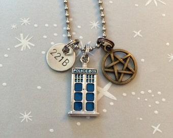 The Tiny SuperWhoLock Fandom Necklace / Keychain - Pentagram, Doctor Who Inspired, 221B, Multi Fandom Necklace, Gift