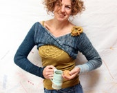 Blue Jean Cropped Bolero Infinity Shrug M knit top with removable beaded crochet corsage - WrapturebyInese