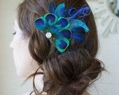 Blue Peacock Eye Feather Rhinestone Hair Comb FANCY QUINN Clip Bride Bridal Bridesmaid Headpiece Wedding Prom Dance Fascinator