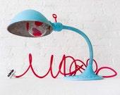 20% SALE - Baby Blue Alice - Vintage Gooseneck Table Lamp - Antique Cast Iron Night Light - Hand-painted Heart Light Bulb - Kids OOAK