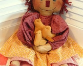 """Primitive """"Patty Ann and Her Peeps"""" Easter Raggedy Doll Pattern"""