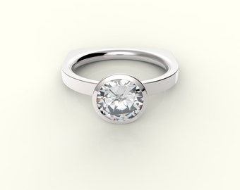 14k White Gold Solitaire Engaement Ring with 1 Carat Swarovski Cubic Zirconia