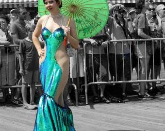 OOAK Irridescent Mermaid Costume, Ariel, Coney Island, Sequined Tail, Blue & Green Walkable Siren Costume
