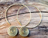 Tribal Brass Spiral Hoop Earrings