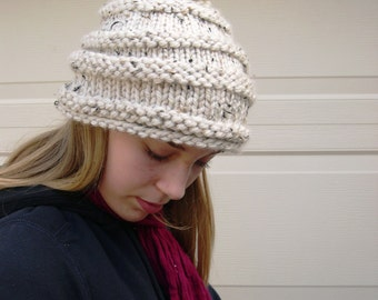 Alpine Pom Pom hat, Aspen Winter Fashion, Cream cozy hat, Cream pom pom hat, handknit warm hat, unique chunky hat
