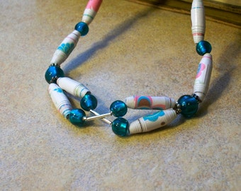 White necklace - Paper Bead necklace -Eco Friendly and lightweight - teal, flowers, girly - FREE SHIPPING